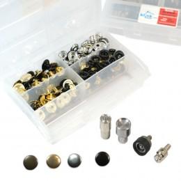4 Metalik Renkli Metal Kalın Kumaş Çıtçıt Kiti -15 mm - Thumbnail
