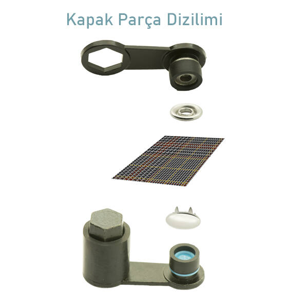 Capped prong snap fastener application kit - 10,5 mm