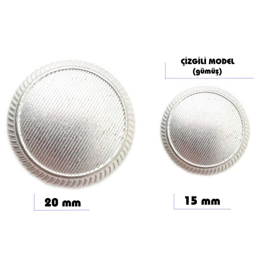 Çizgili Model Düğme (Gümüş)