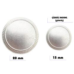 - Çizgili Model Düğme (Gümüş)