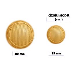 - Çizgili Model Düğme (Sarı)