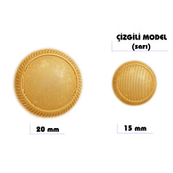 Çizgili Model Düğme (Sarı) - Thumbnail