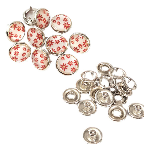 Flower patterned prong snap fasteners - 10,5 mm, mixed color