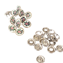 Flower patterned prong snap fasteners - 10,5 mm, mixed color - Thumbnail