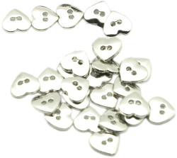 Heart-shaped sew-on polyester button (curved) - Thumbnail