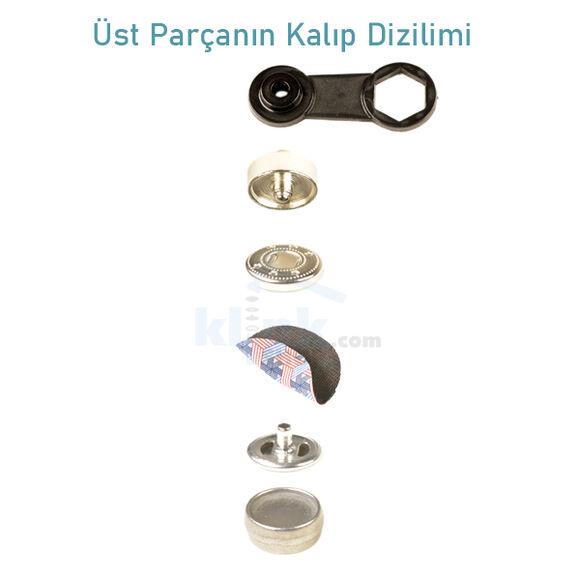 Heavy Duty S - Spring Coat Snap Fastener Easy Application Kit – 15 mm