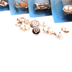Metal sew-on blazer jacket button - Ship's wheel design (Gold color) - Thumbnail