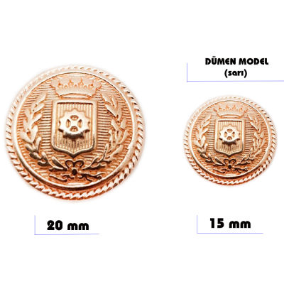 Metal sew-on blazer jacket button - Ship's wheel design (Gold color)