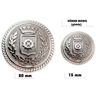 Metal sew-on blazer jacket button - Ship's wheel design (Silver color)