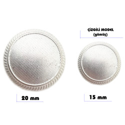 Metal sew-on blazer jacket button - Stripes design (Silver color) - Thumbnail