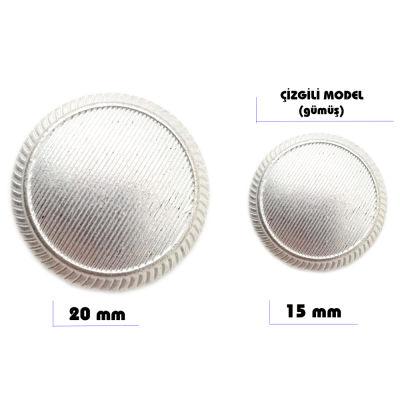 Metal sew-on blazer jacket button - Stripes design (Silver color)