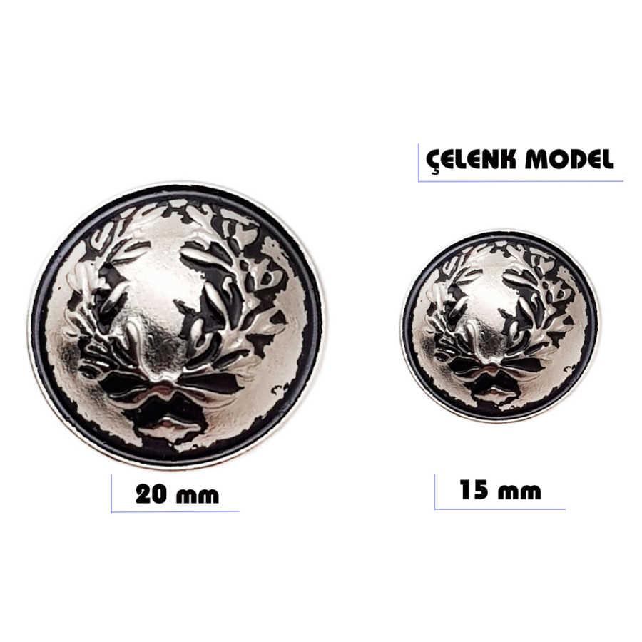 Metal sew-on blazer jacket button - Wreath design