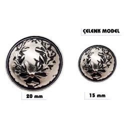 Metal sew-on blazer jacket button - Wreath design - Thumbnail