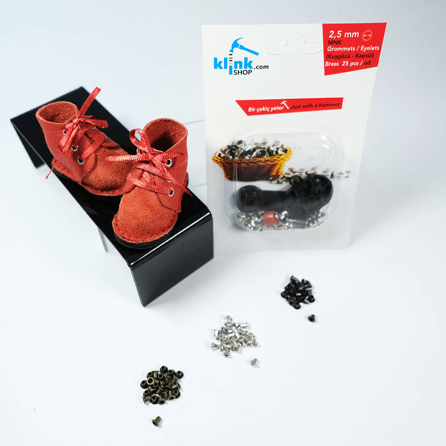 Mini eyelet kit with easy-to-use hand tools - 2,5 mm
