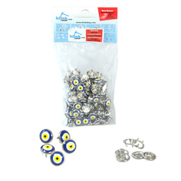 Nazar (Evil-eye) talisman patterned prong snap fasteners - 10,5 mm, without tool - Thumbnail