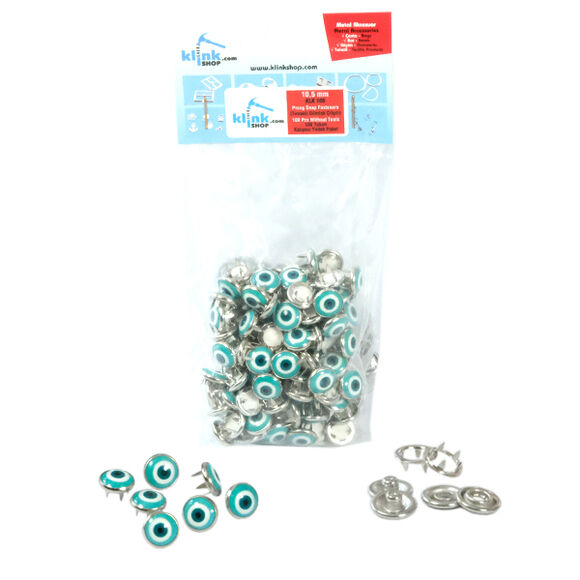 Nazar (Evil-eye) talisman patterned prong snap fasteners - 10,5 mm, without tool