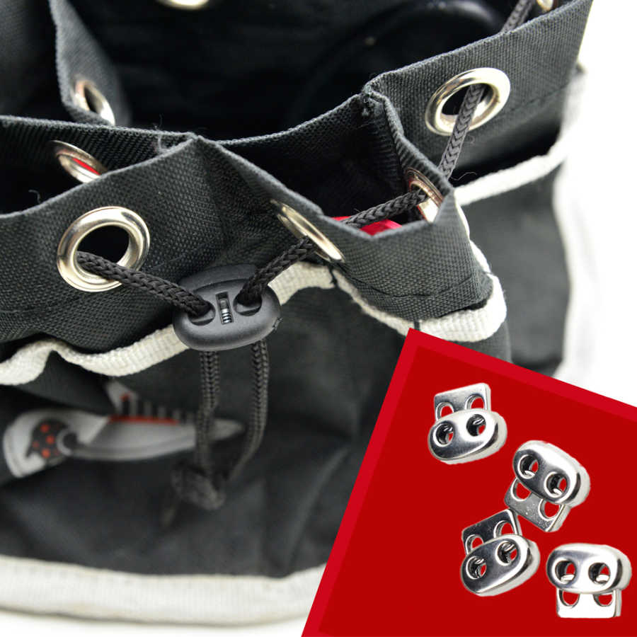 Spring cord lock, two holes - Short