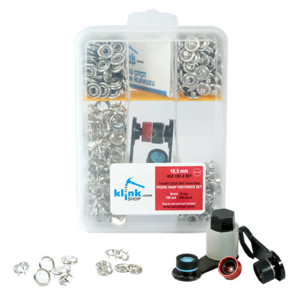Transparent prong snap fastener application kit - 10,5 mm